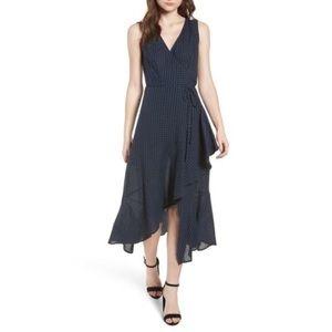 NWT Lush Asymmetrical Ruffle Plaid Maxi Dress